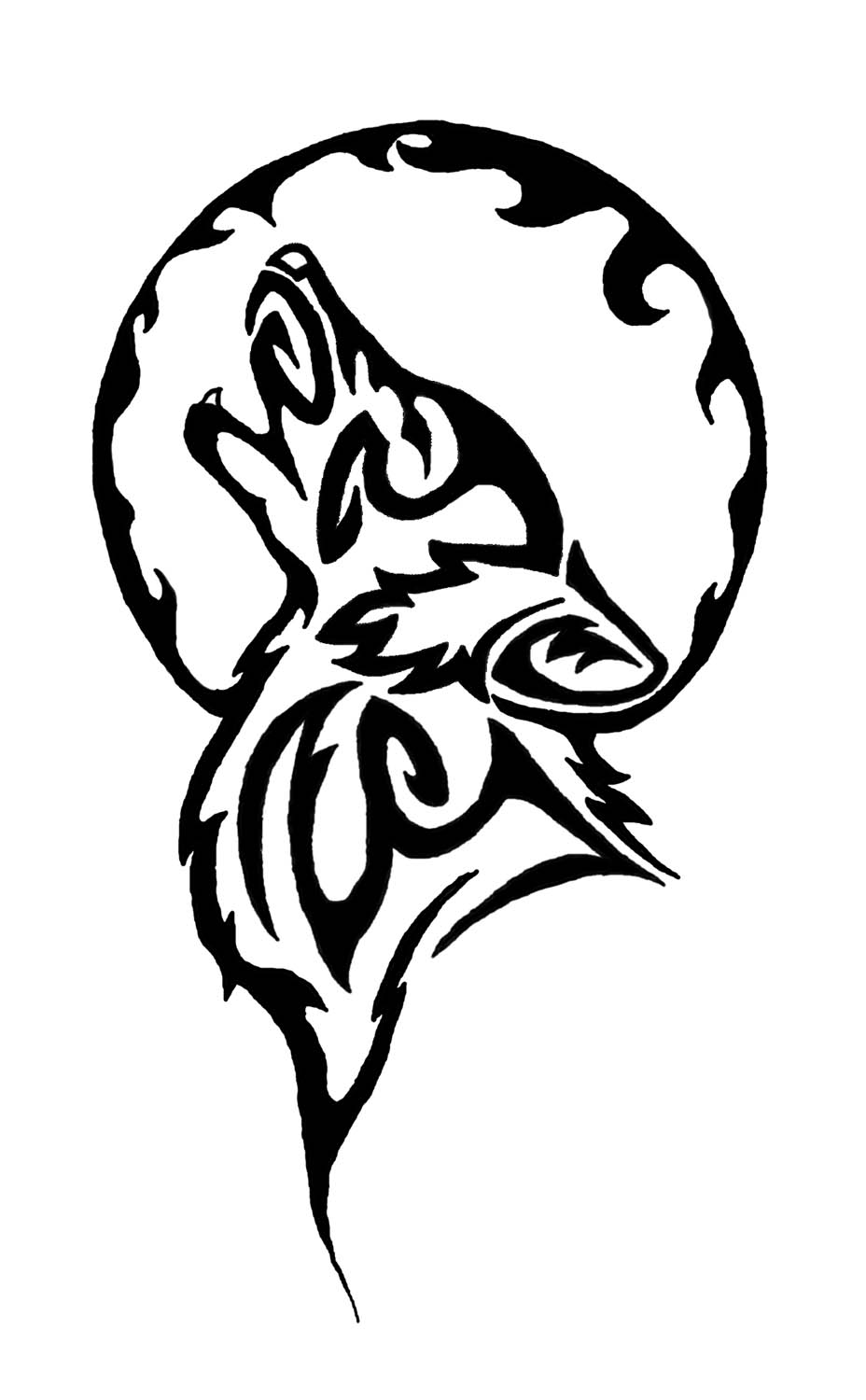 Tribal Moon And Wolf Tattoo Design
