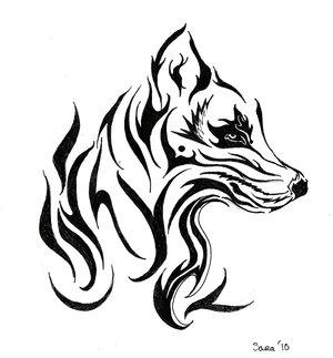 Tribal Wolf Head Tattoo Design