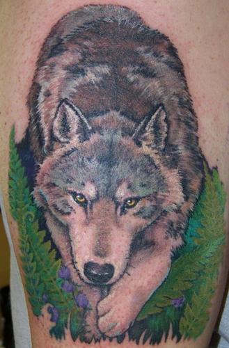 Walking Wolf Tattoo