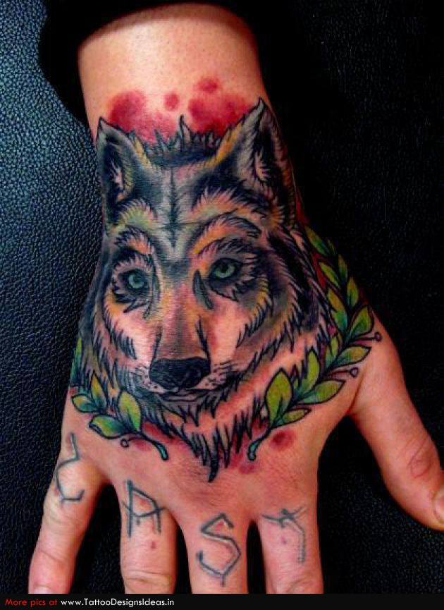wolf head tattoo on right hand. Black Bedroom Furniture Sets. Home Design Ideas