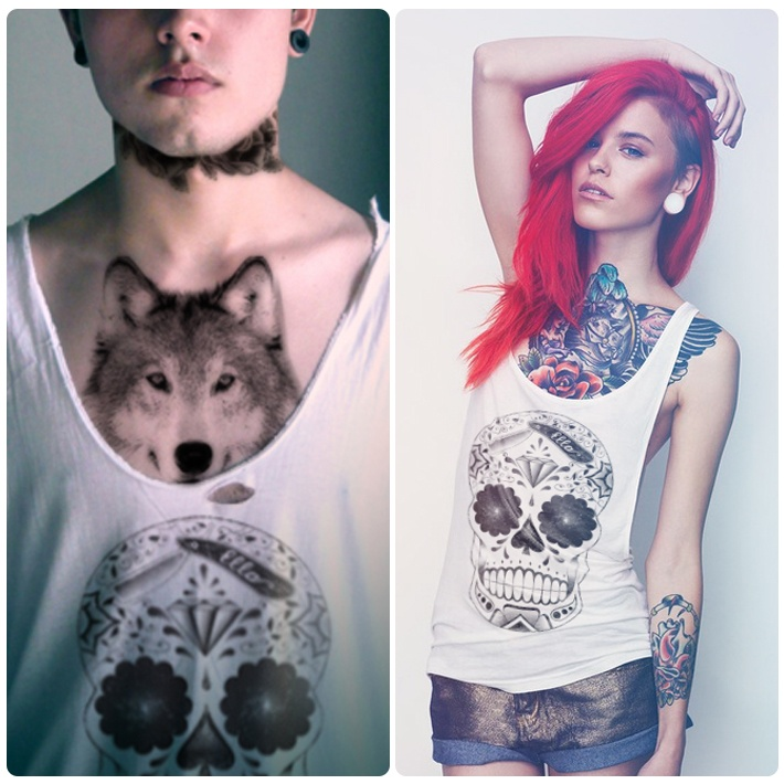 Wolf Tattoos On Chest For Girls