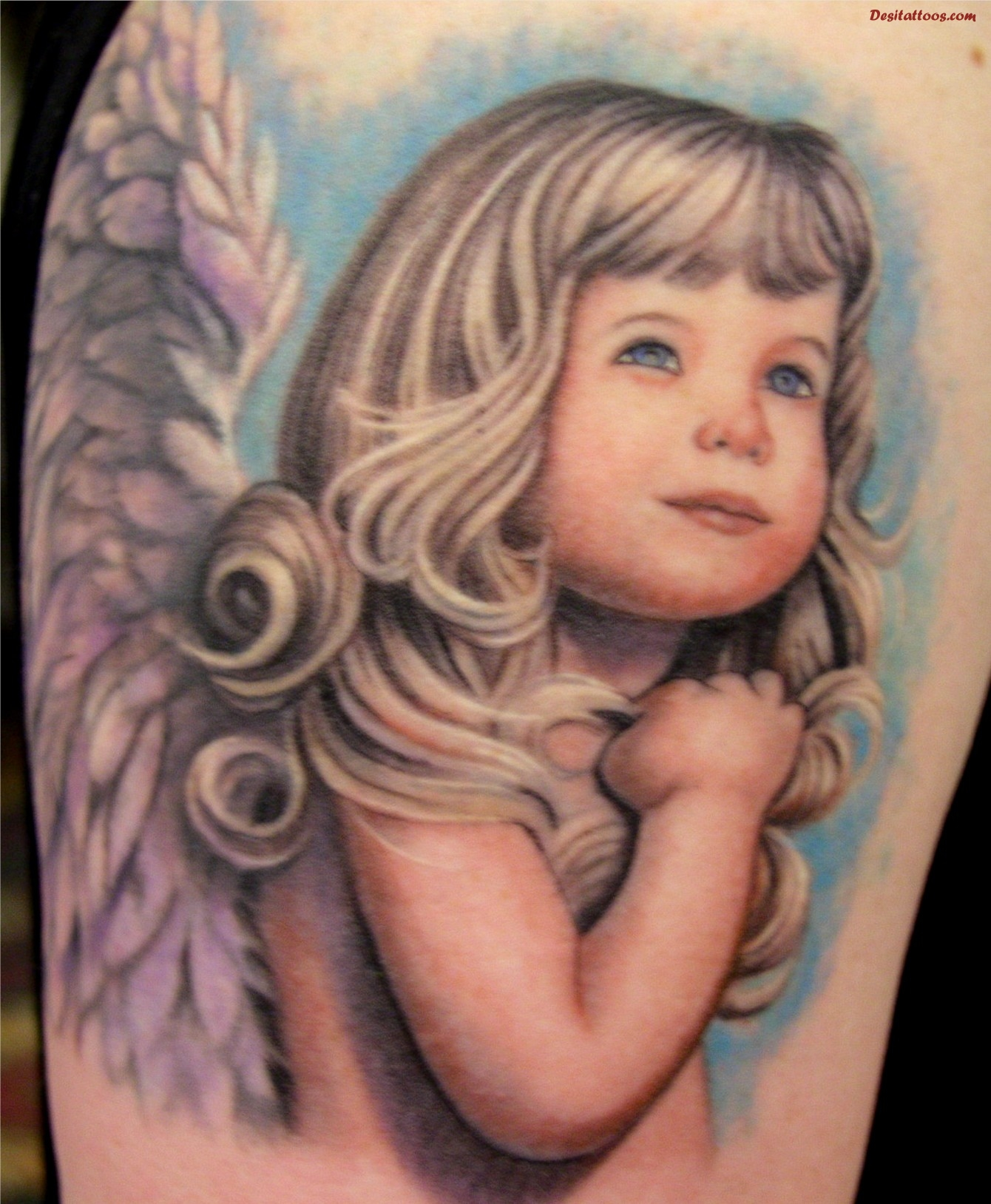 Tattoo Images of Baby Angels Colored Baby Angel Girl Tattoo