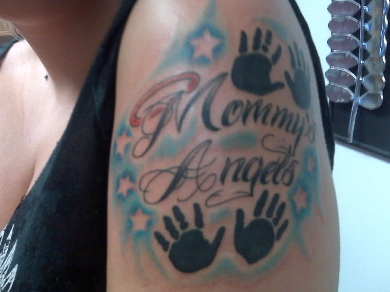 Mommy Angels And Baby Handprints Tattoo On Left Shoulder