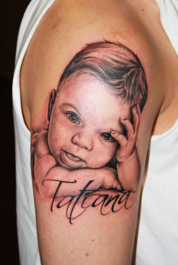 Tattana Baby Tattoo On Right Sleeve