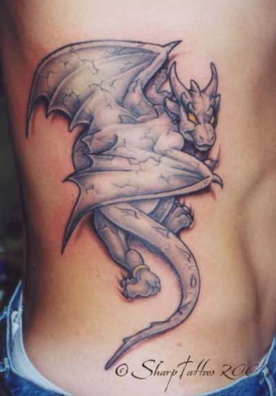 dragon animated tattoo on side rib. Black Bedroom Furniture Sets. Home Design Ideas