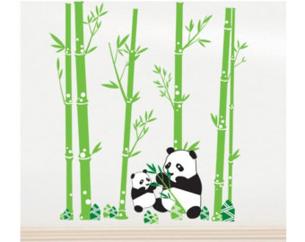 Green Bamboo Tree And Panda Bear Tattoo Design