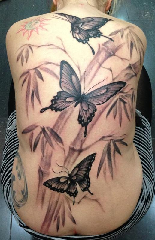 Black And Grey Butterfly Tattoo Ink Flying Butterflies
