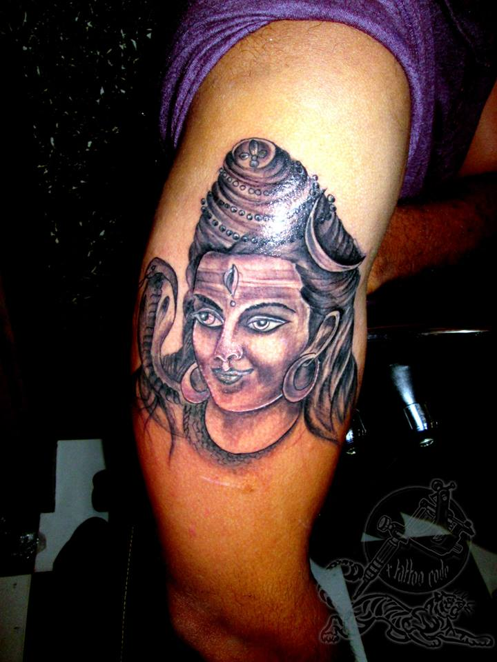 Grey Ink Religious Hindu God Lord Shiva Tattoo On Half Sleeve