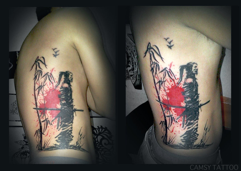 Tiger And Bamboo Tree Tattoo On Rib Side