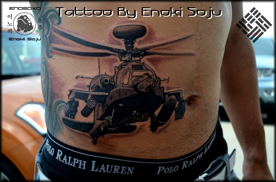 Nice Grey Ink Helicopter And Sleeve Tattoo For Men