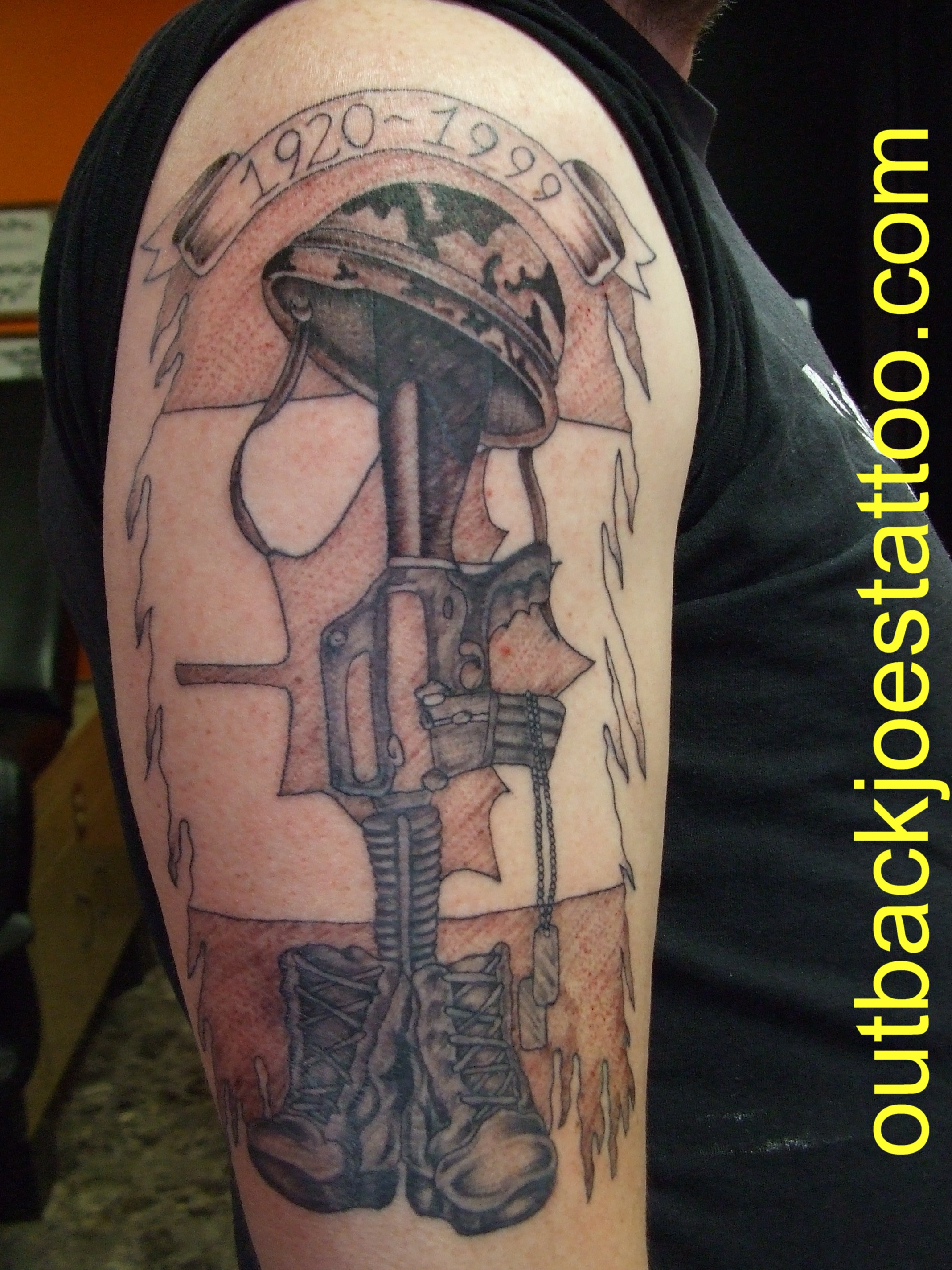 Memorial Army Boots With Gun And Helmet Tattoo