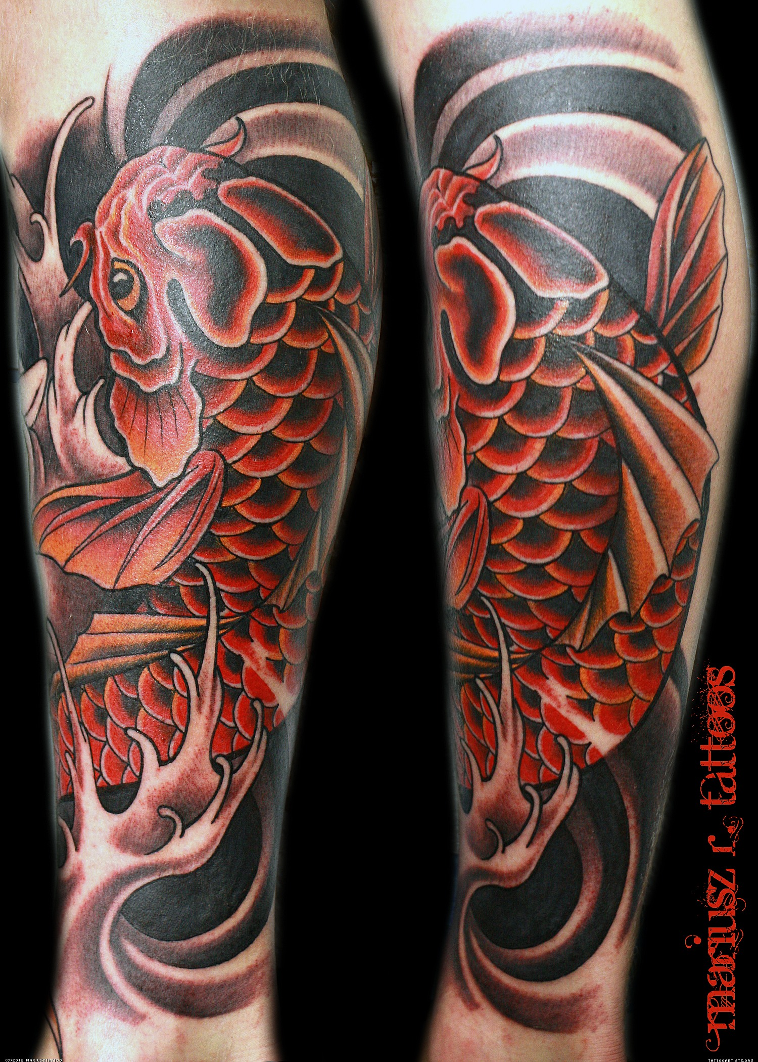 Awesome Color Ink Aqua Tattoo On Leg