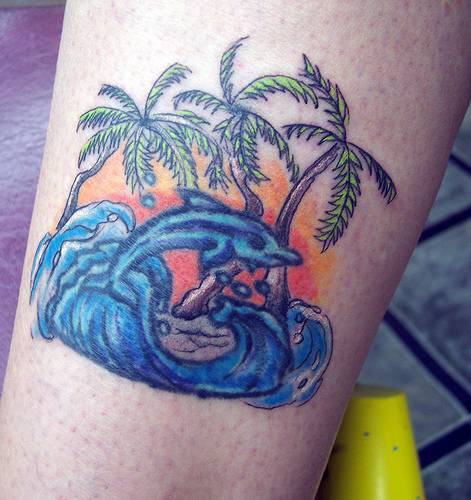 28 Nice Aqua Color Tattoos: Color Dolphin Aqua Tattoo On Half Sleeve