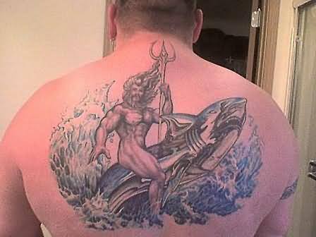 Grey Ink Aqua Tattoo On Upperback