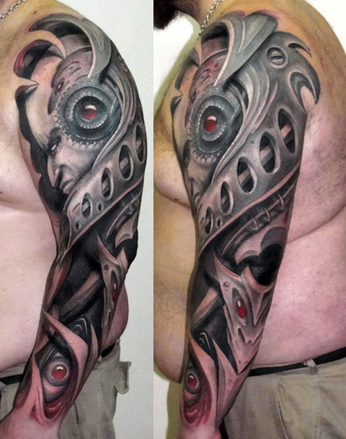 3D Biomechnical Arm Tattoo For Men
