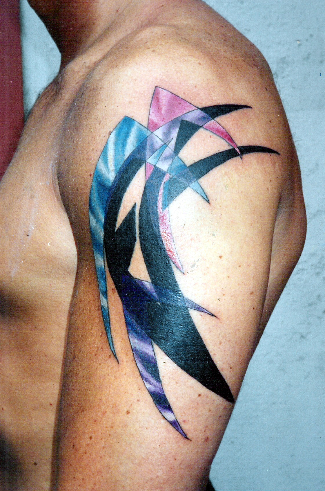 Pin candle flame abstract tattoos for men on upper leg thigh on