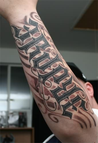 Ambigram Full Arm Tattoo