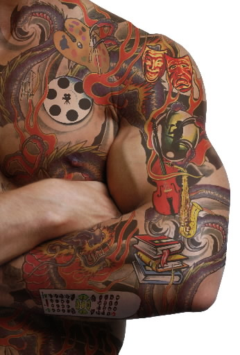 Awesome Colored Geek Left Arm Tattoo For Men
