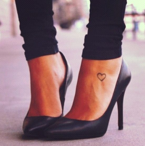 Awesome Outline HEart Ankle Tattoo For GirlsHeart Tattoos On Ankle