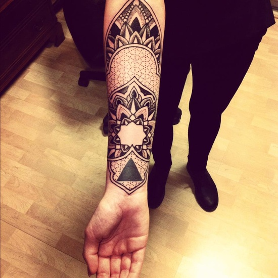 beautiful grey ink mandala flower tattoo on right arm. Black Bedroom Furniture Sets. Home Design Ideas