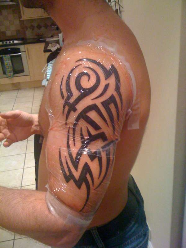 Black ink tribal arm tattoo for men for Black tribal tattoo ink