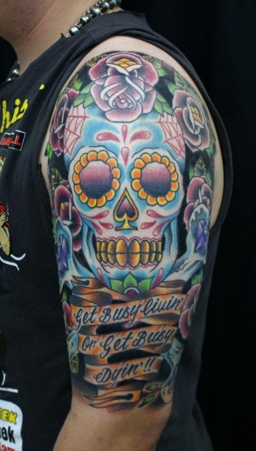 Arm tattoos page 30 for Color skull tattoos