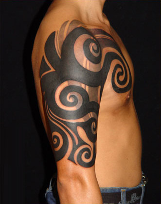 Cool black ink tribal tattoo on man right arm for Black tribal tattoo ink