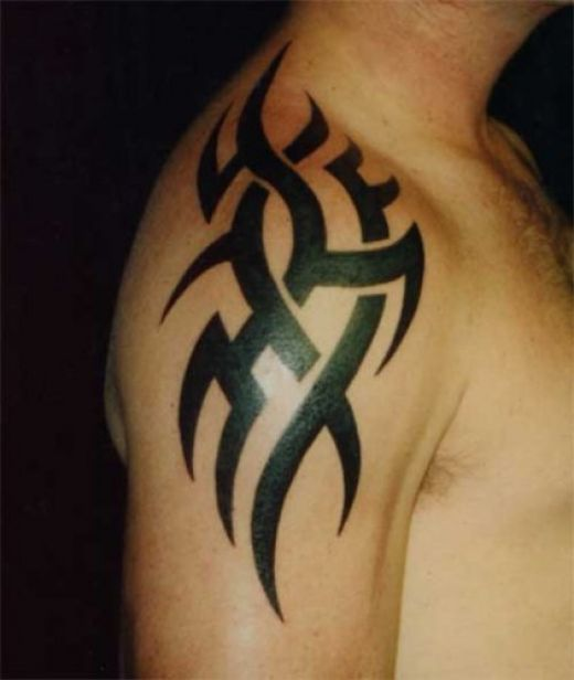 Cool black tribal tattoo on man right arm for Tattoos on right arm