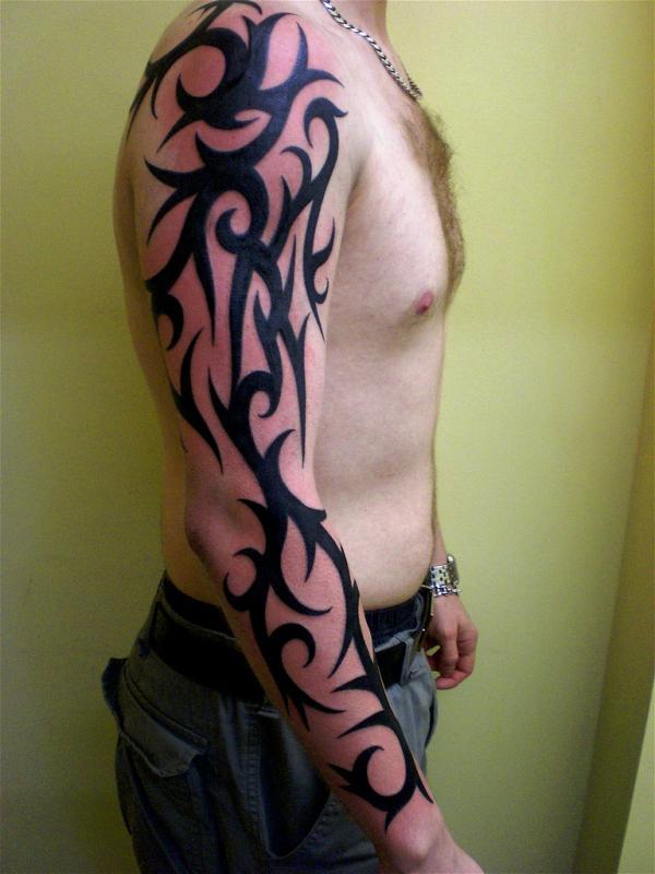 64bdbab23 Fantastic Black Ink Tribal Tattoo On Man Right Arm