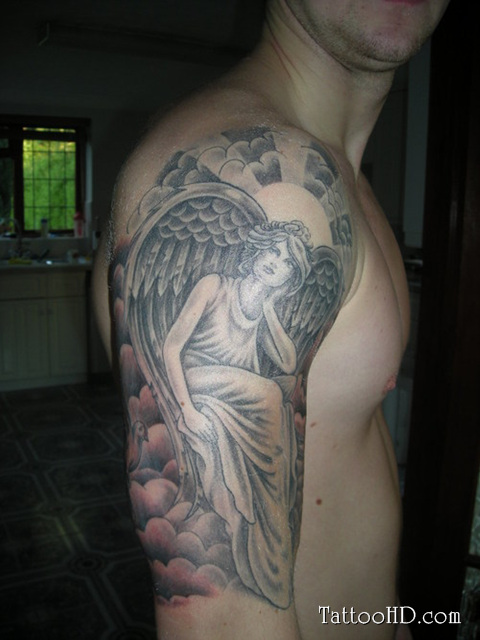 Grey ink angel tattoo on man right arm for Tattoos on right arm