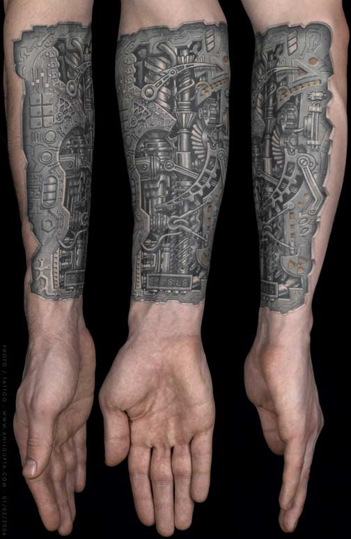 Grey Ink Biomechanical Tattoo On Left Arm