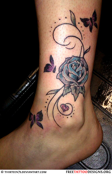 Grey Ink Butterflies And Blue rose Ankle Tattoo