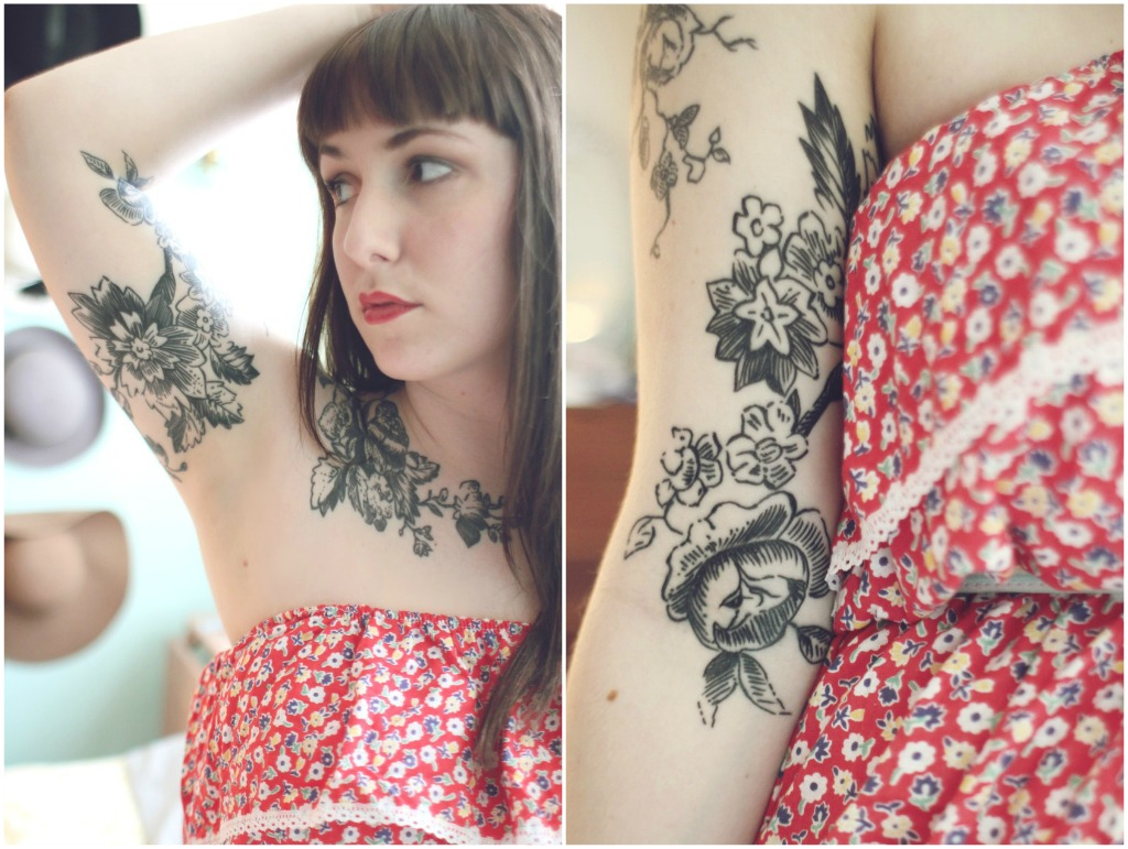 Flowers And Girl Arm Tattoo
