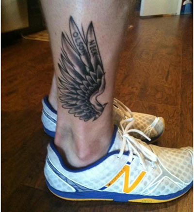 Angel wings tattoos on ankle grey ink wing ankle tattoo