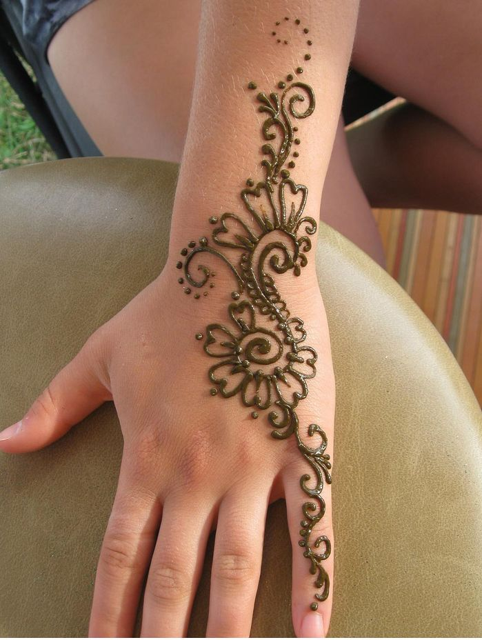 henna tattoo on hand and left arm. Black Bedroom Furniture Sets. Home Design Ideas