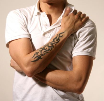 0cfdd6852 Simple Black Ink Tribal Tattoo On Man Right Arm
