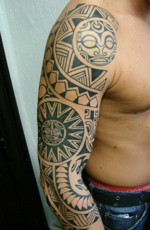 trubal sun and maori tattoo on arm. Black Bedroom Furniture Sets. Home Design Ideas