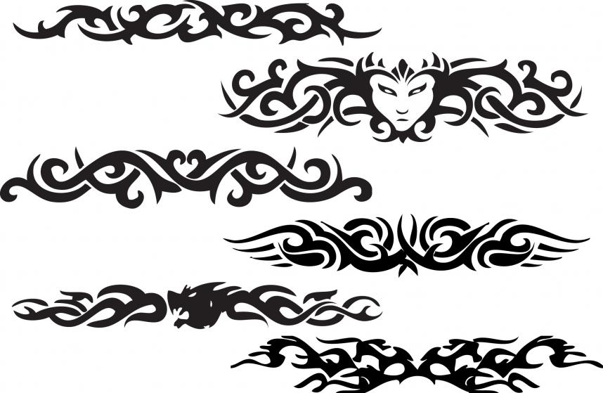 Black Ink Devil Tribal Armband Tattoo Design