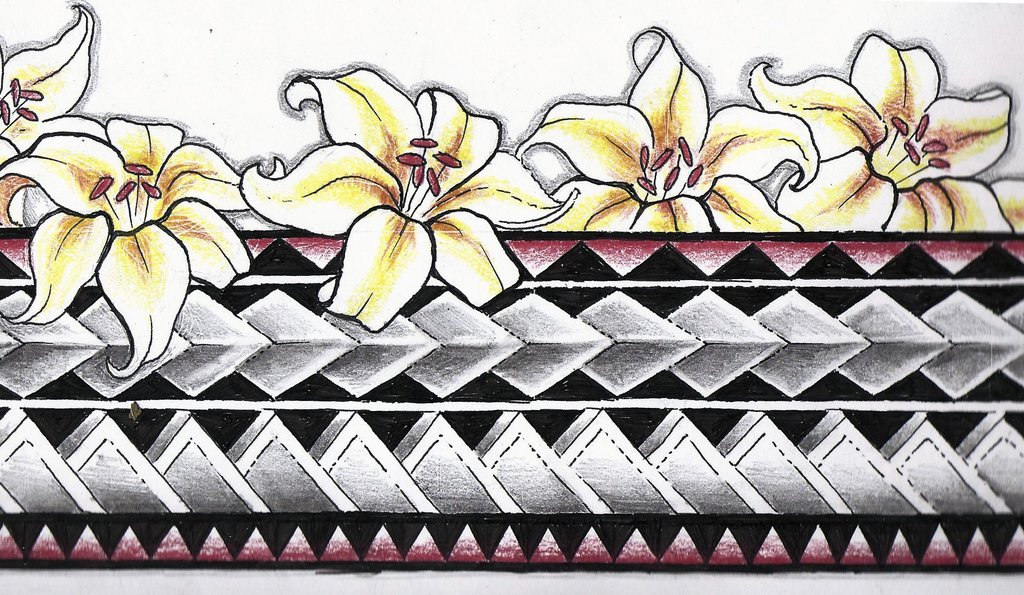 Color Flowers And Polynesian Armband Tattoo