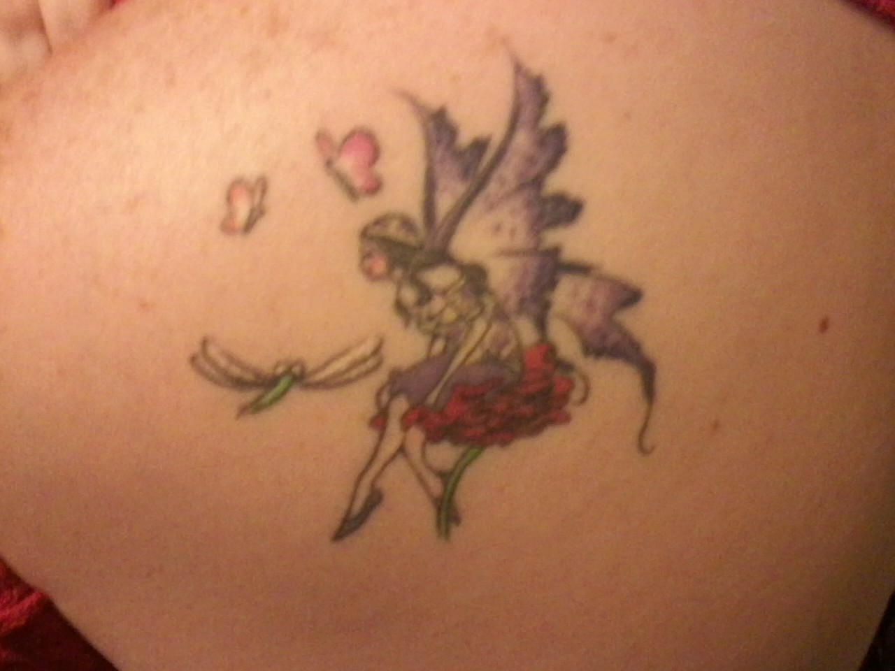 Colored Fairy Tattoo On Back