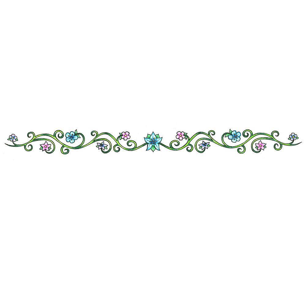 Floral Vine Flowers Armband Tattoos Design