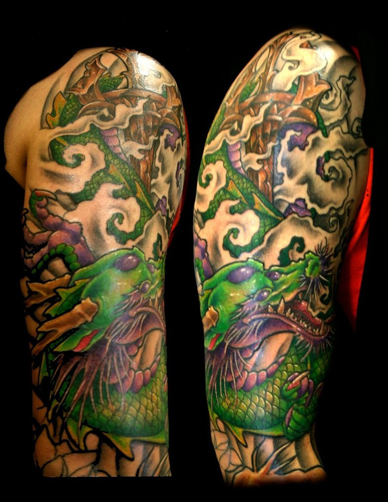 Green Ink Asian Tattoo On Right Half Sleeve