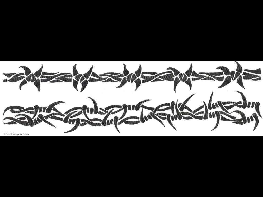 Grey Ink Barbed Wire Armband Tattoo Design