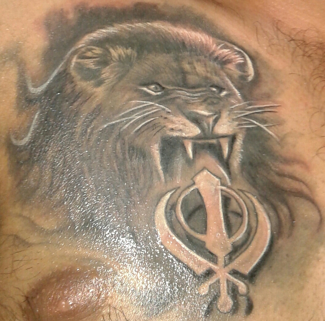 Grey Ink Lion With Khanda Tattoo