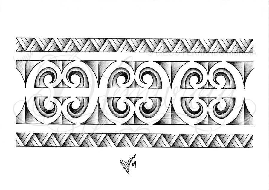 Grey Ink Maoeri Armband Tattoo Design