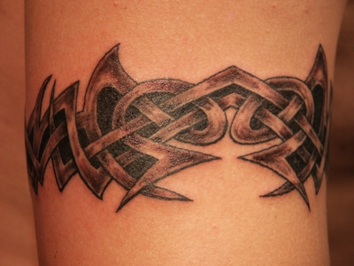 Grey Ink Tribal Armband Tattoo On Bicep