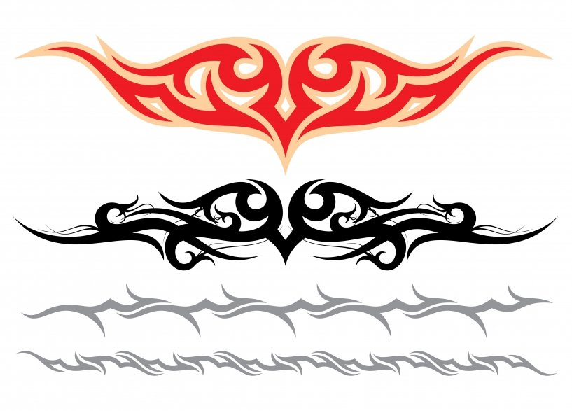 Red And Black Tribal Armband Tattoos Designs
