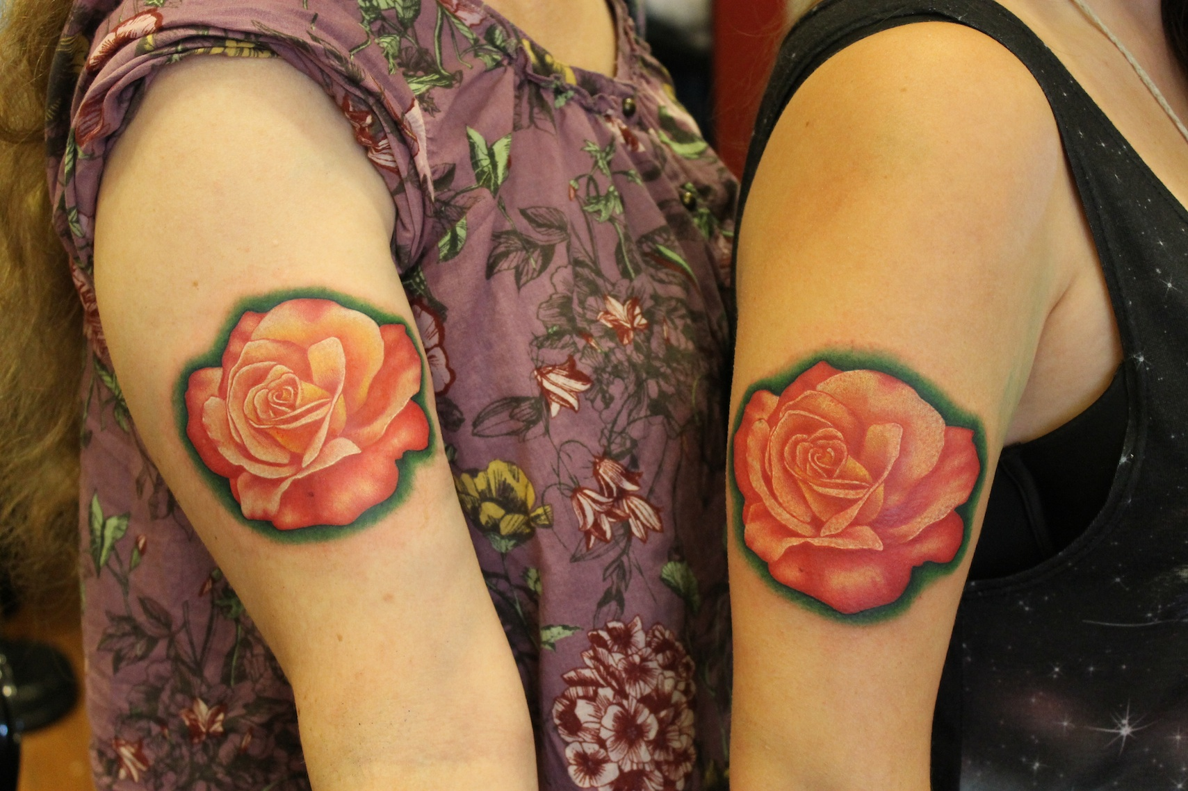 Red Rose Flowers Tattoos By Hannah Wolf