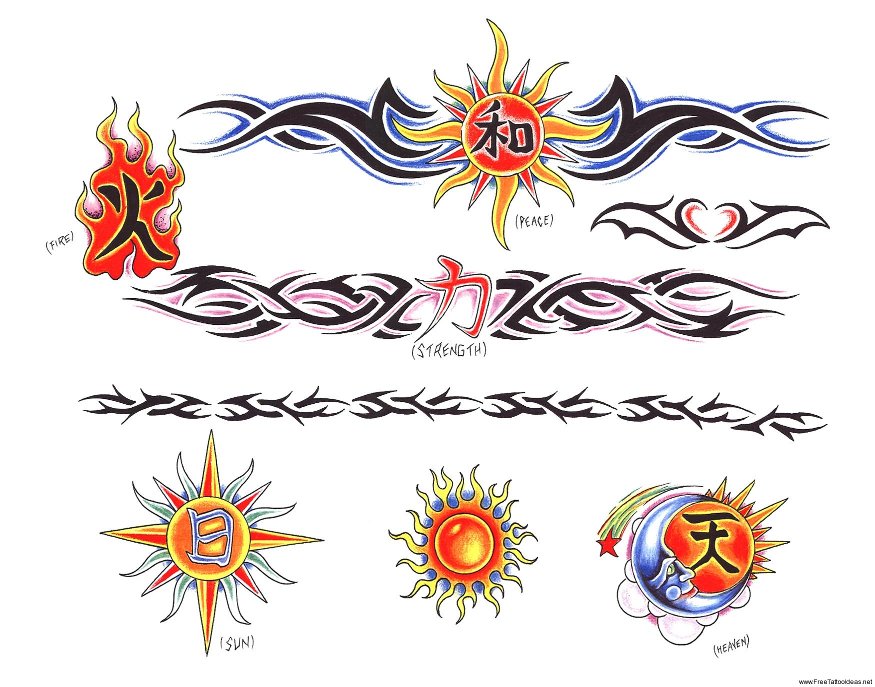 sun and tribal armband tattoos designs