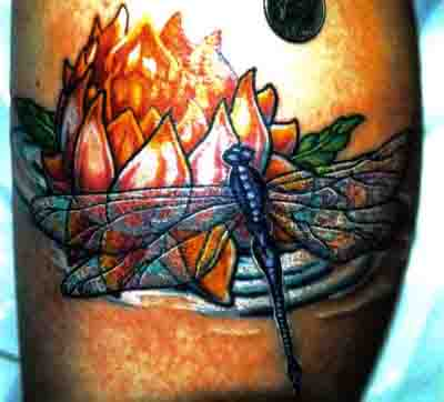 Flaming Flower And Dragonfly Tattoo